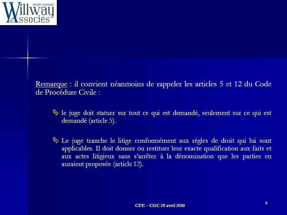 Remarque : il convient néanmoins de rappeler les articles 5 et 12 du Code de Procédure Civile :