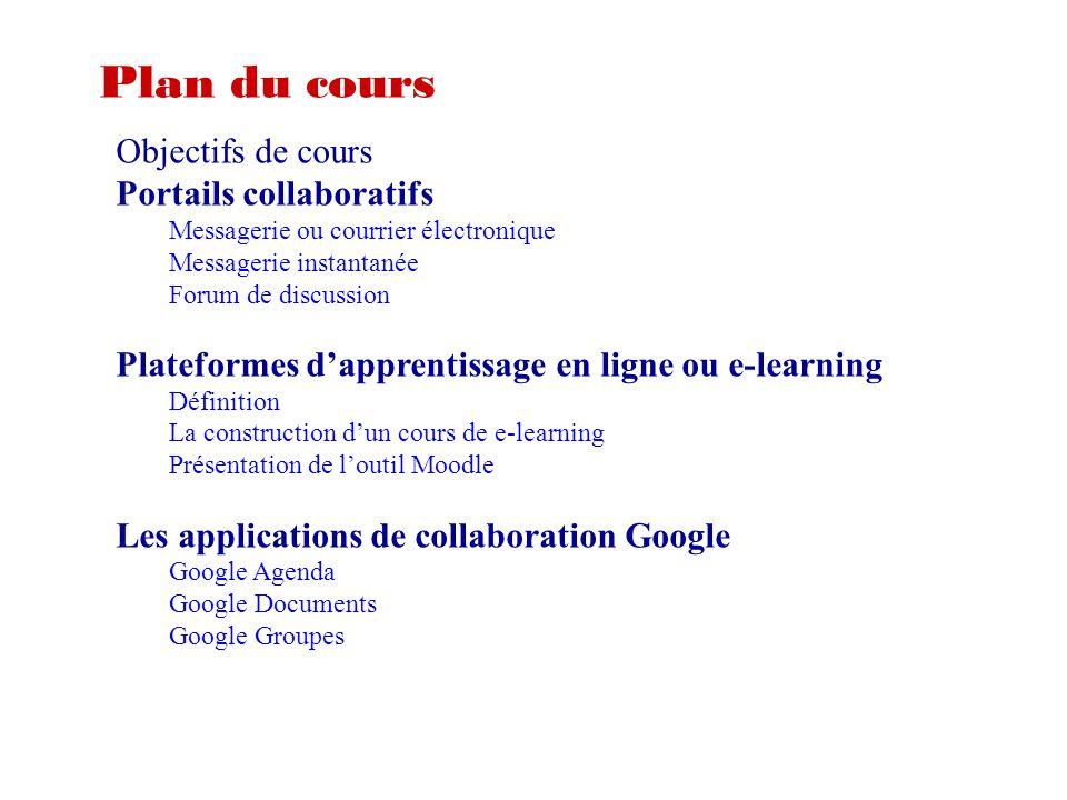 Plan du cours Objectifs de cours Portails collaboratifs
