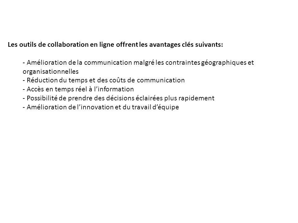 Les outils de collaboration en ligne offrent les avantages clés suivants: