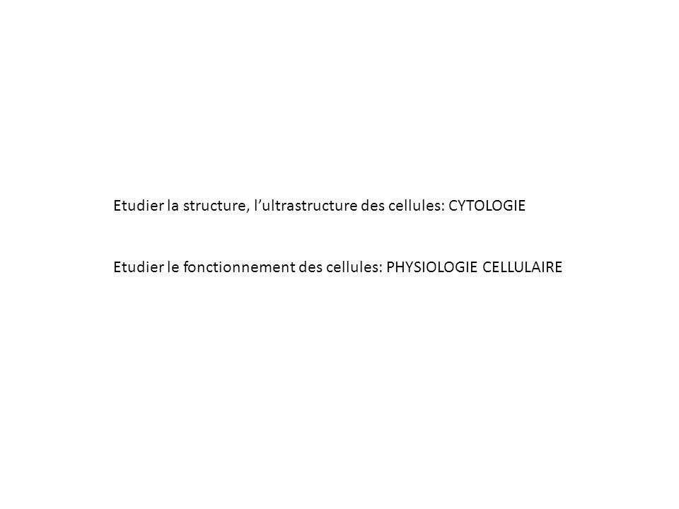 Etudier la structure, l'ultrastructure des cellules: CYTOLOGIE