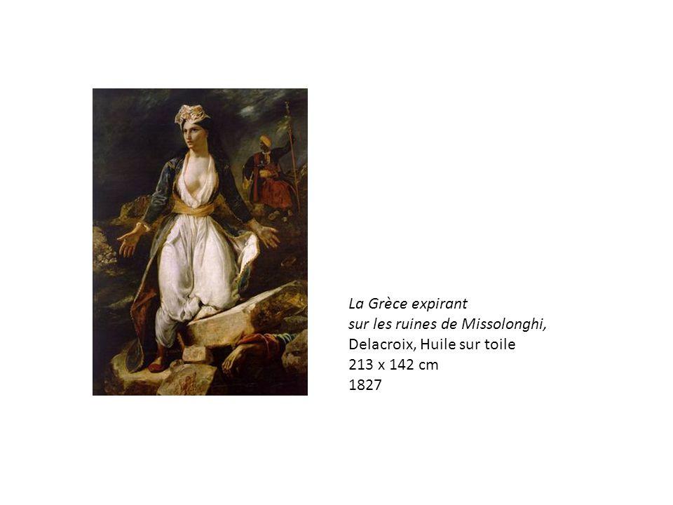 La Grèce expirant sur les ruines de Missolonghi, Delacroix, Huile sur toile 213 x 142 cm 1827