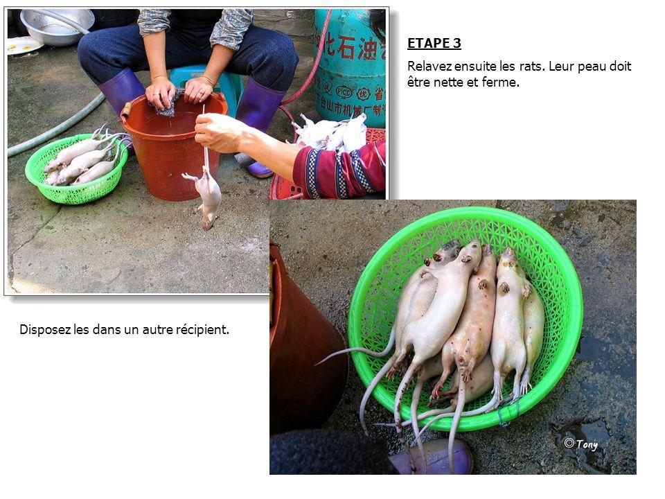 ETAPE 3 Relavez ensuite les rats. Leur peau doit être nette et ferme.