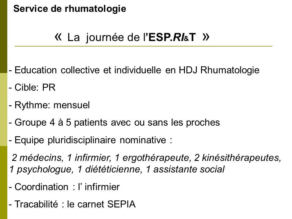 Service de rhumatologie « La journée de l'ESP.RI&T »