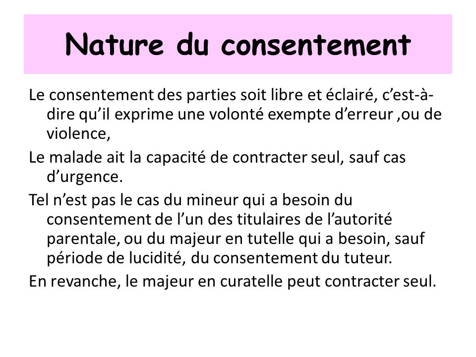 Nature du consentement