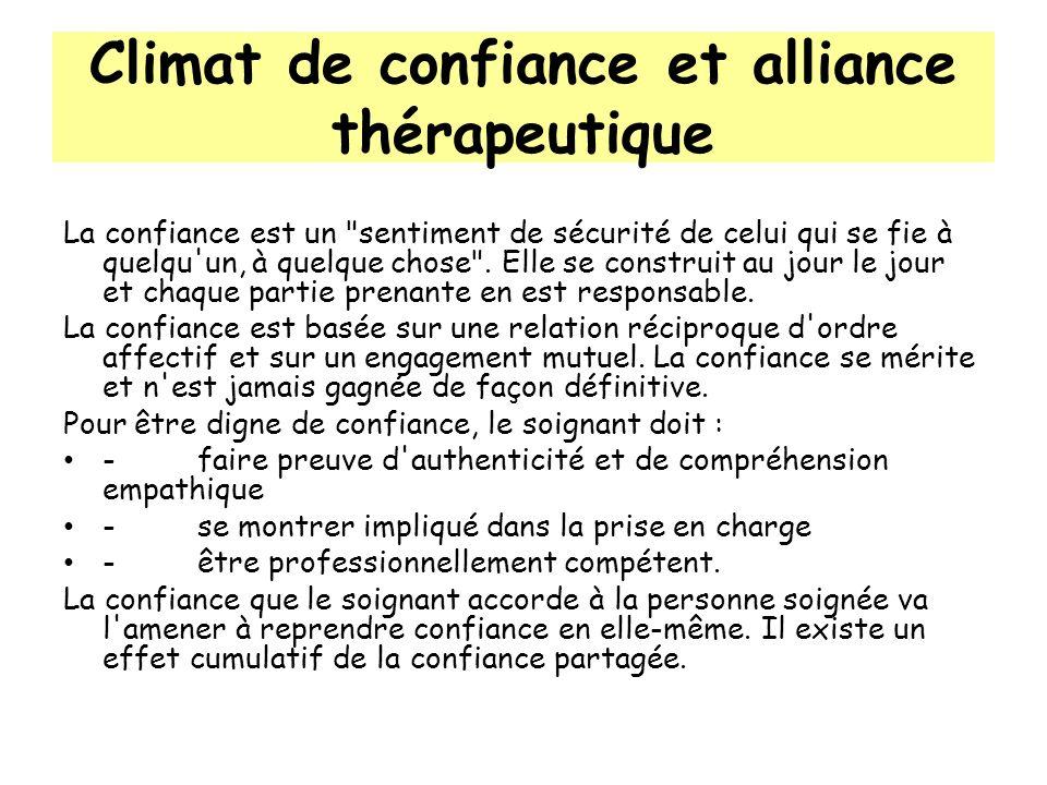 Climat de confiance et alliance thérapeutique