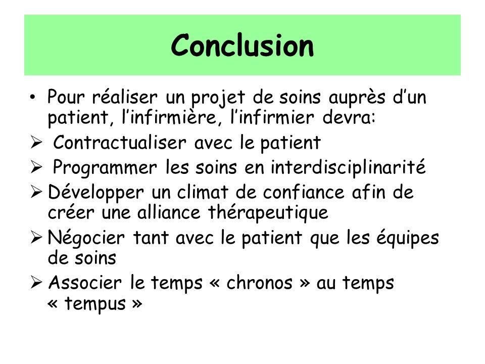 Conclusion Pour réaliser un projet de soins auprès d'un patient, l'infirmière, l'infirmier devra: Contractualiser avec le patient.