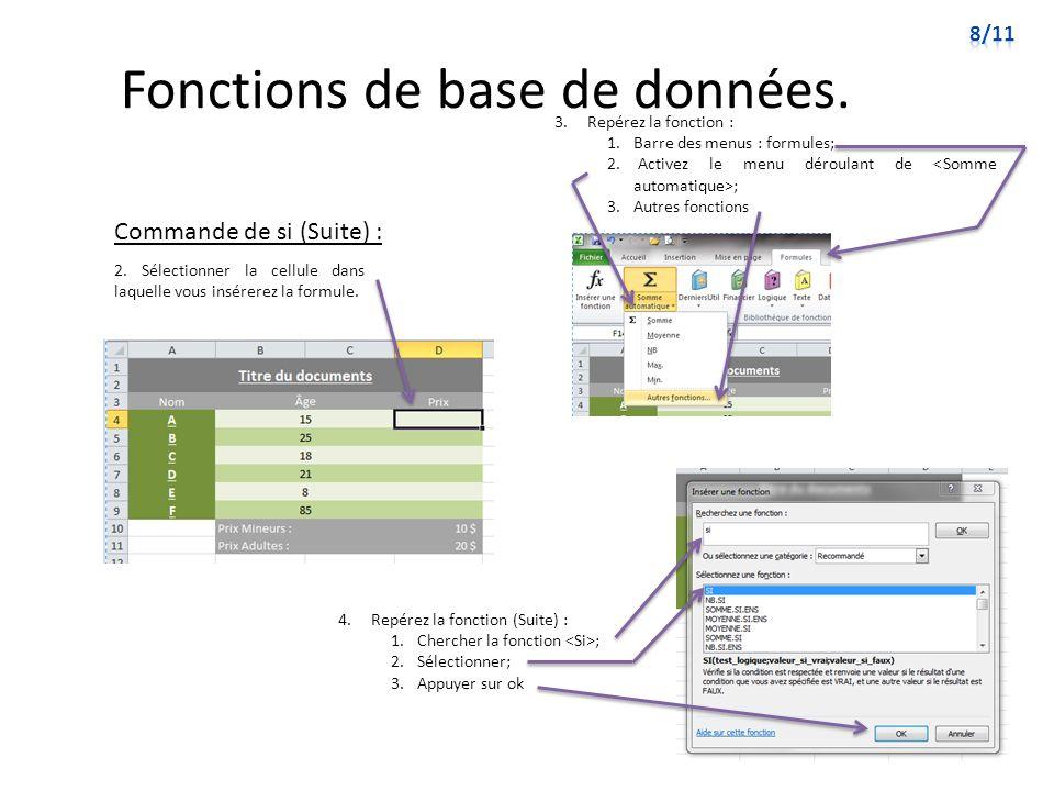 Fonctions de base de données.