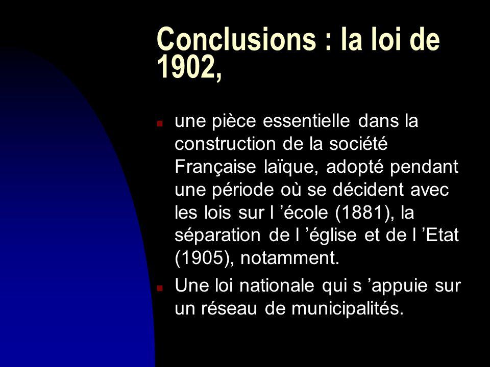 Conclusions : la loi de 1902,