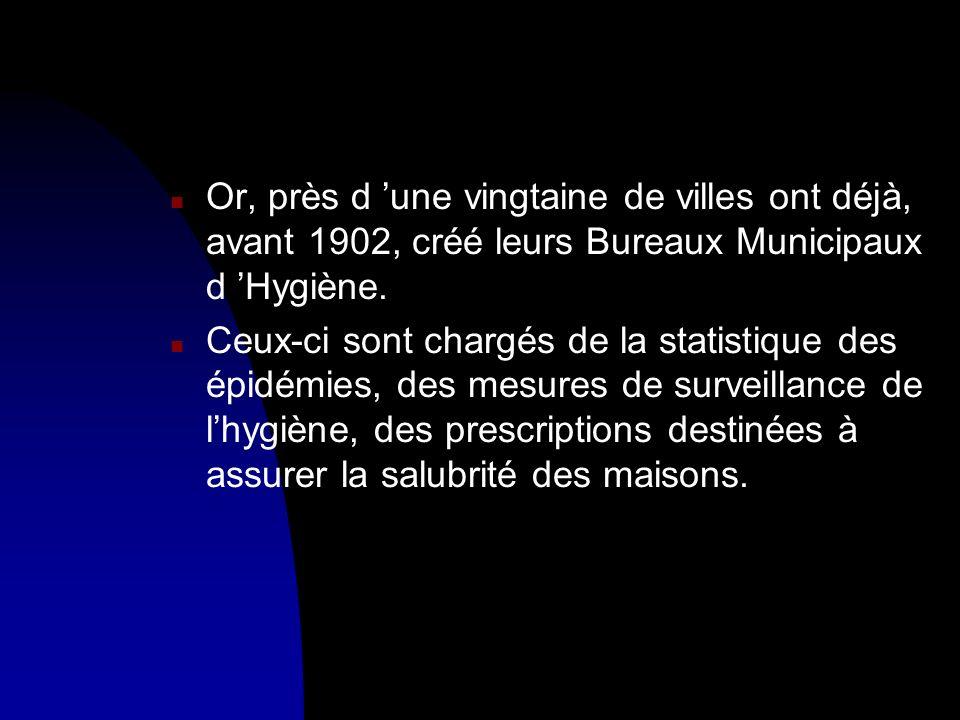 Or, près d 'une vingtaine de villes ont déjà, avant 1902, créé leurs Bureaux Municipaux d 'Hygiène.