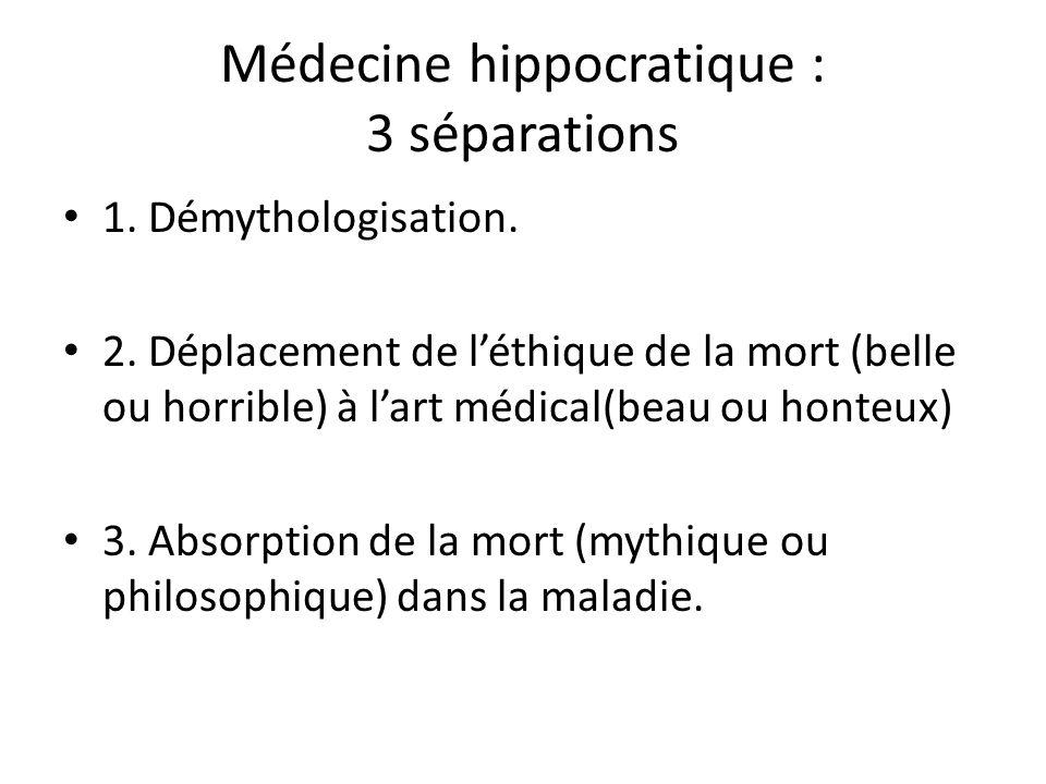 Médecine hippocratique : 3 séparations