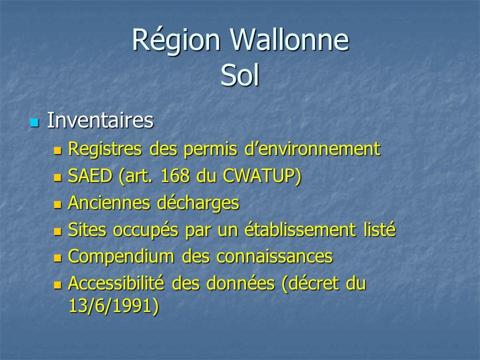 Région Wallonne Sol Inventaires Registres des permis d'environnement