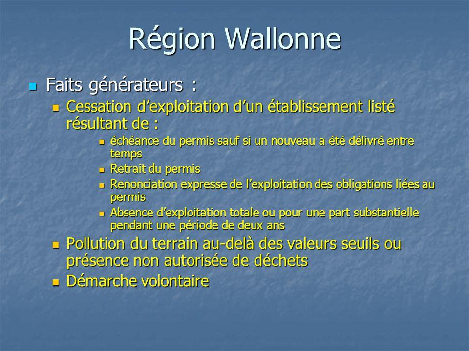 Région Wallonne Faits générateurs :