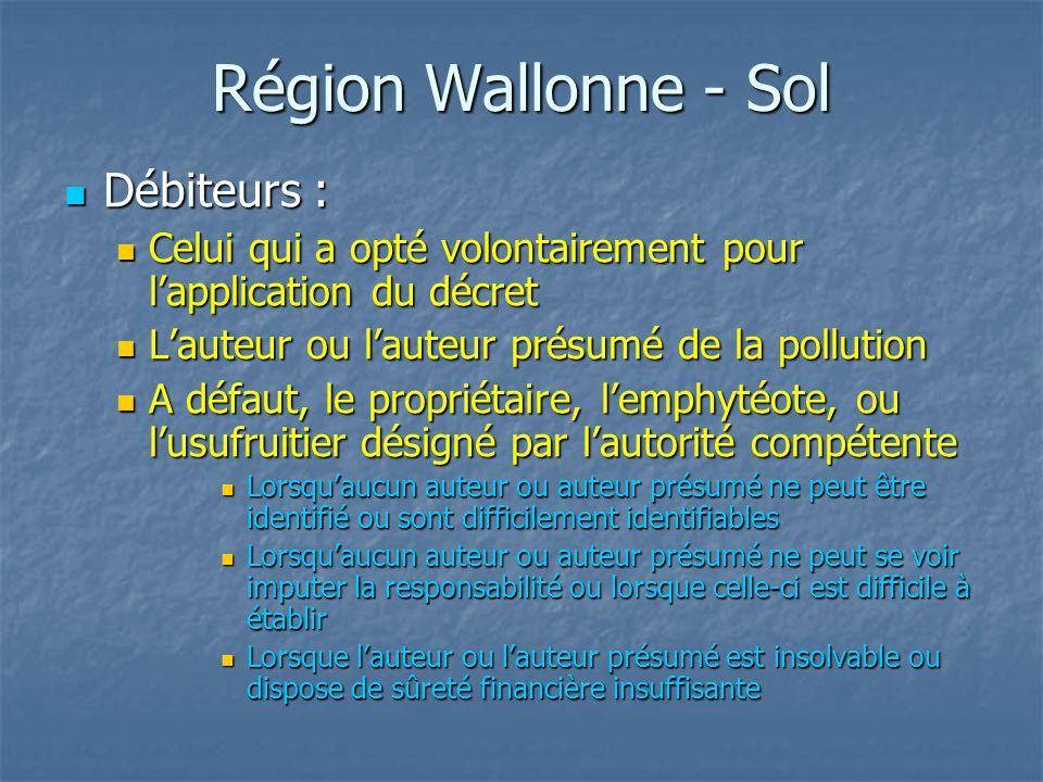 Région Wallonne - Sol Débiteurs :