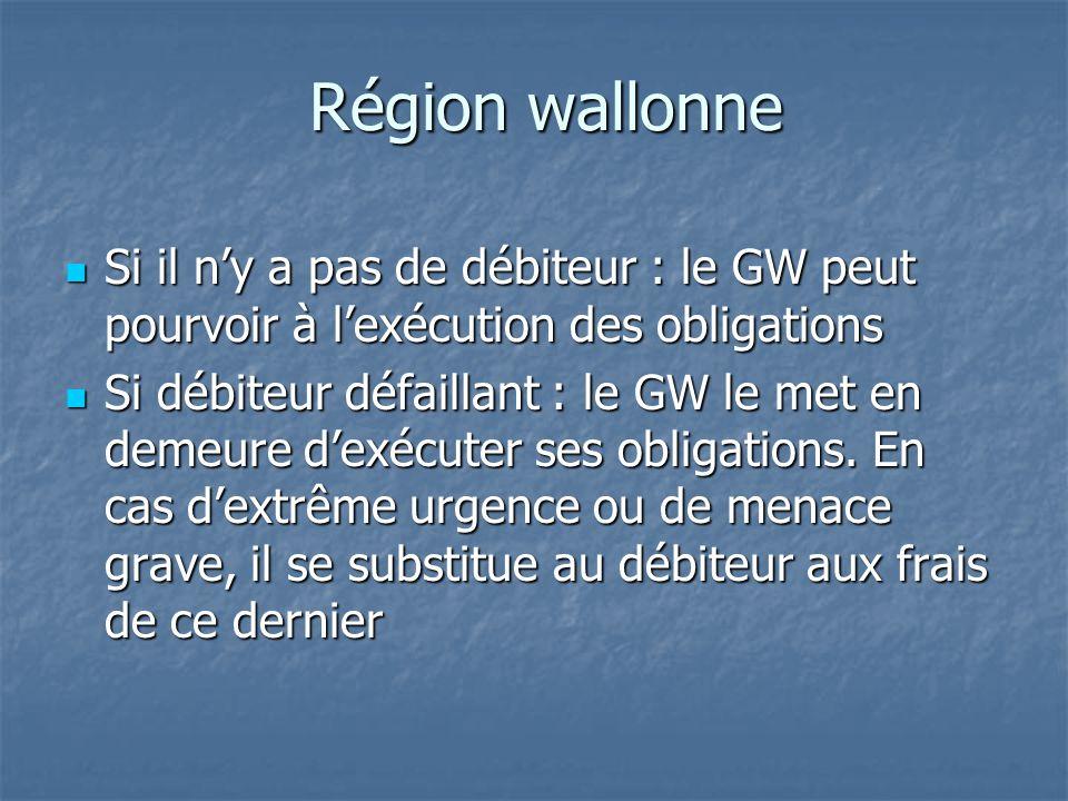 Région wallonne Si il n'y a pas de débiteur : le GW peut pourvoir à l'exécution des obligations.