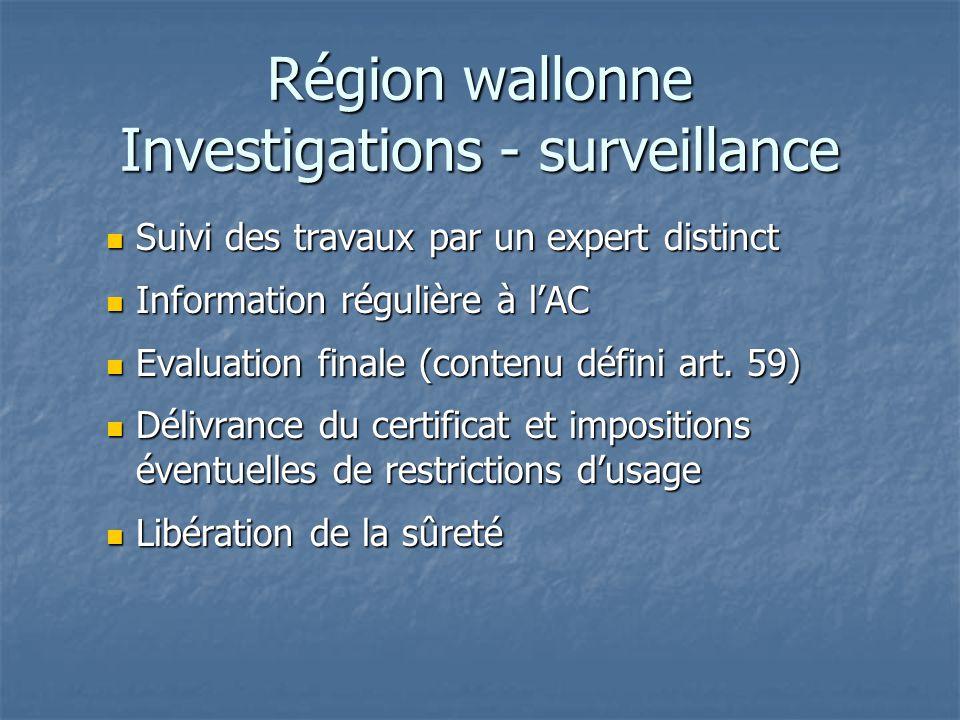Région wallonne Investigations - surveillance