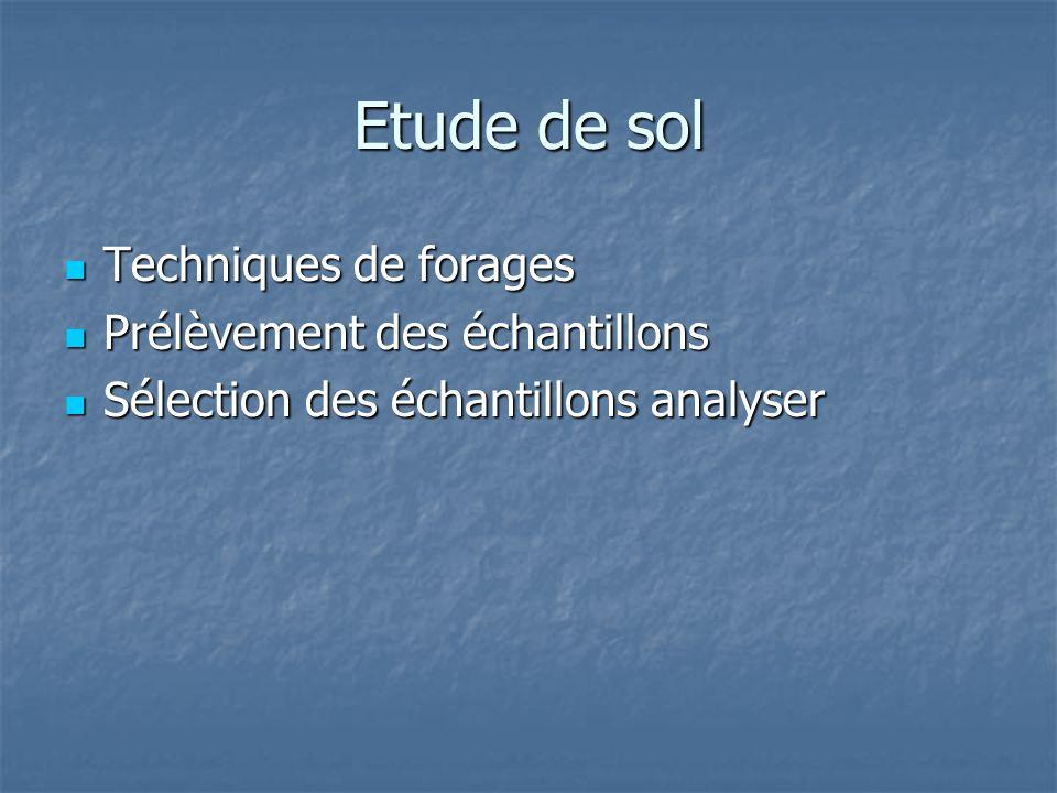 Etude de sol Techniques de forages Prélèvement des échantillons