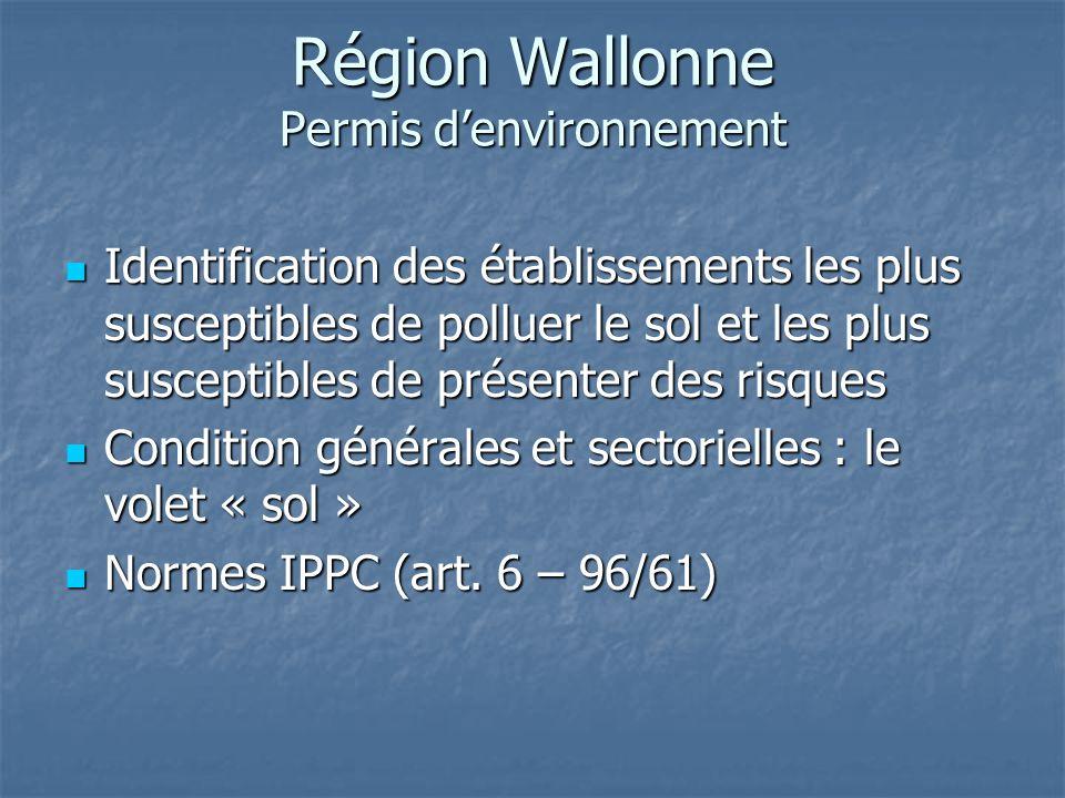 Région Wallonne Permis d'environnement