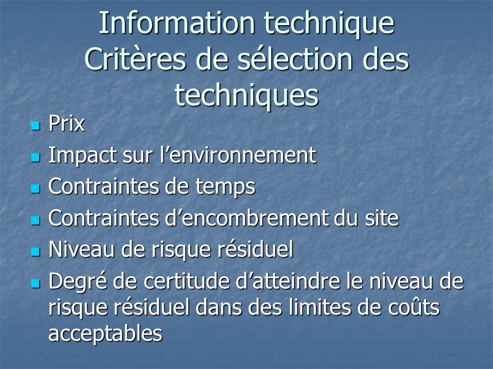 Information technique Critères de sélection des techniques