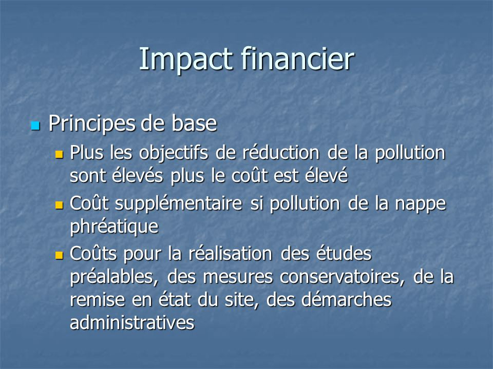 Impact financier Principes de base