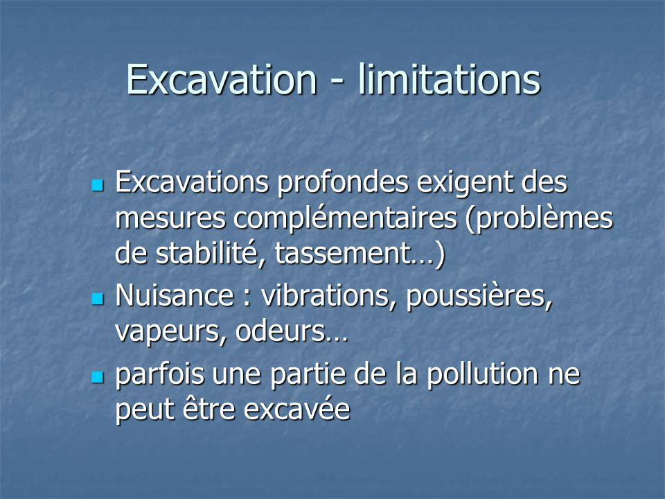 Excavation - limitations