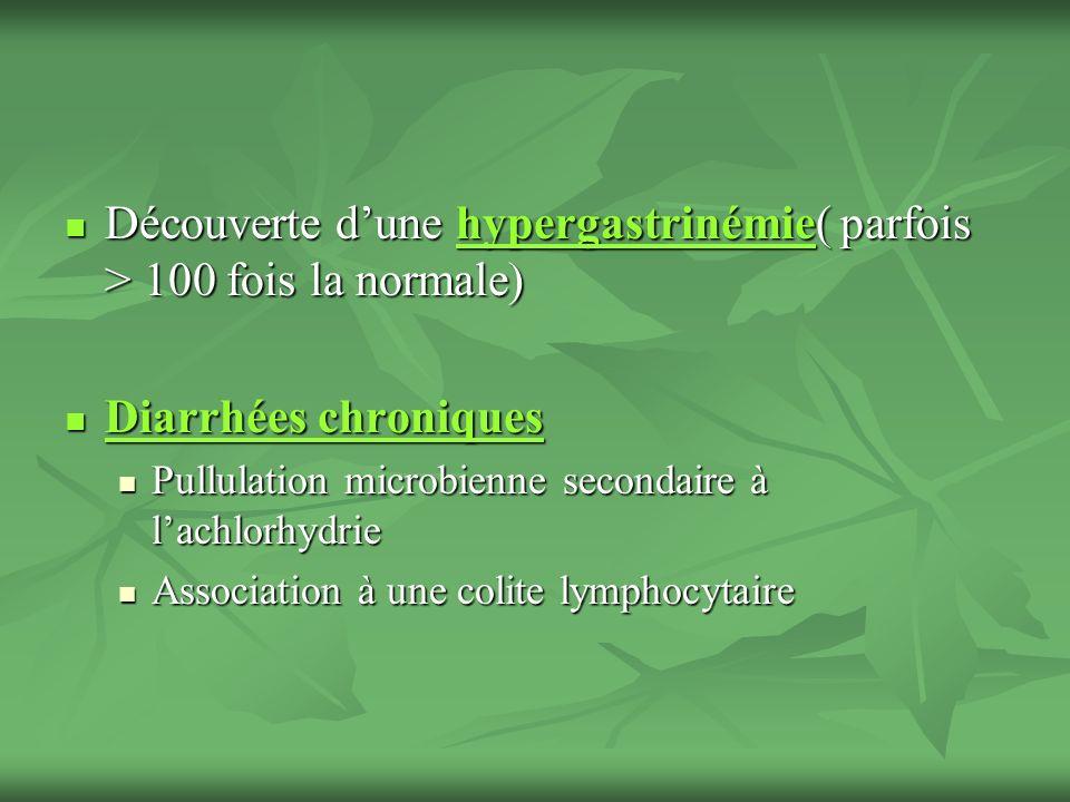 Découverte d'une hypergastrinémie( parfois > 100 fois la normale)