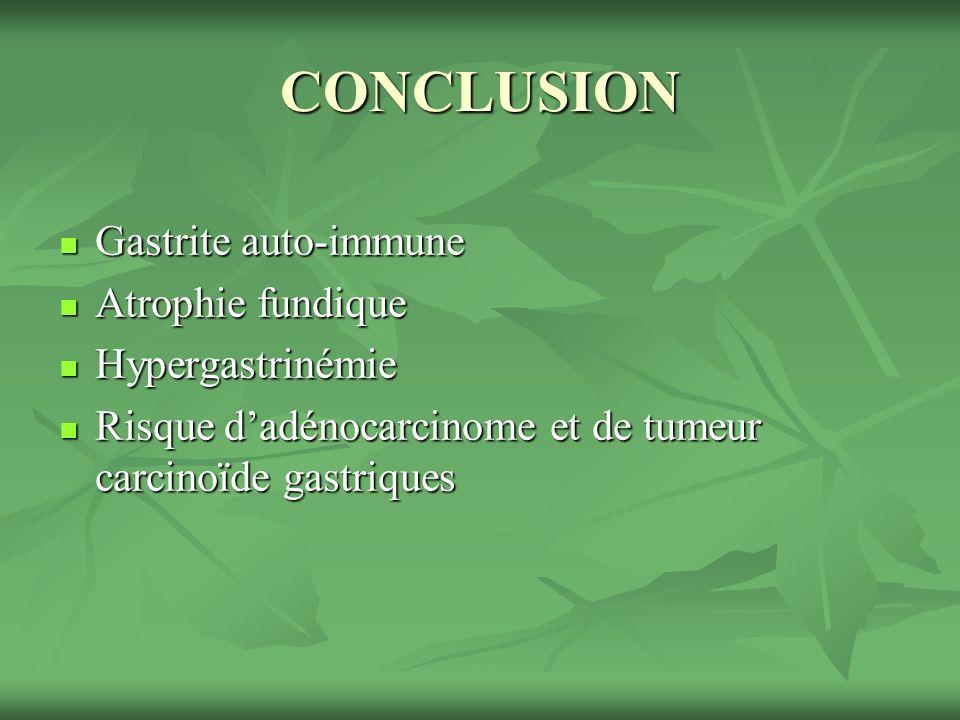 CONCLUSION Gastrite auto-immune Atrophie fundique Hypergastrinémie