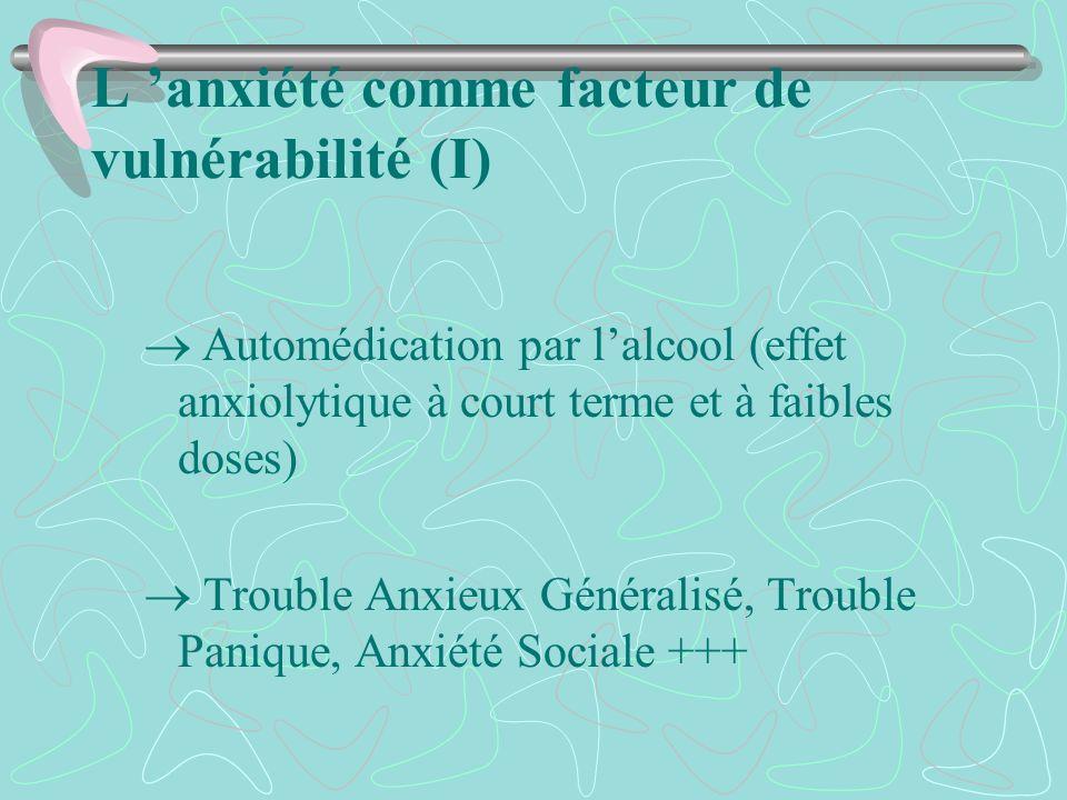 L 'anxiété comme facteur de vulnérabilité (I)