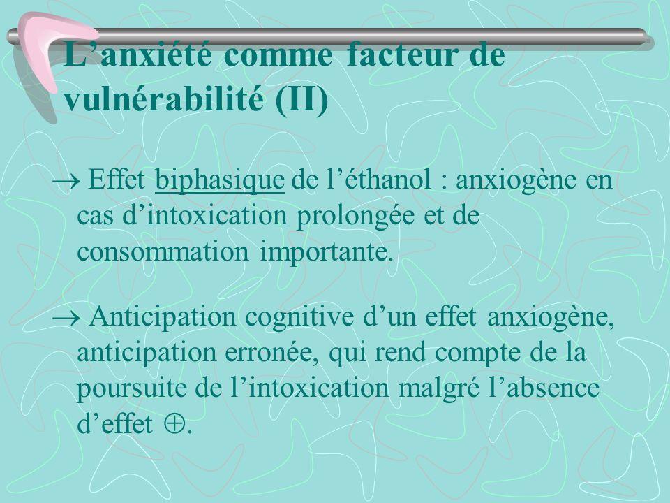 L'anxiété comme facteur de vulnérabilité (II)