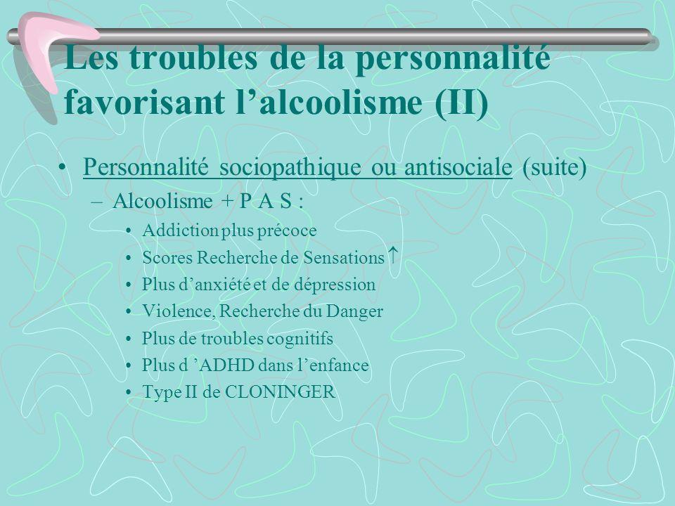 Les troubles de la personnalité favorisant l'alcoolisme (II)
