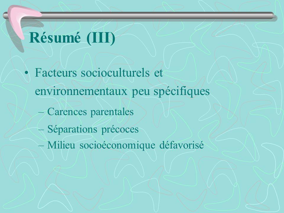 Résumé (III) Facteurs socioculturels et environnementaux peu spécifiques. Carences parentales. Séparations précoces.