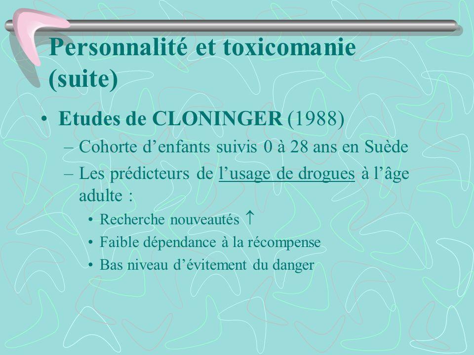 Personnalité et toxicomanie (suite)