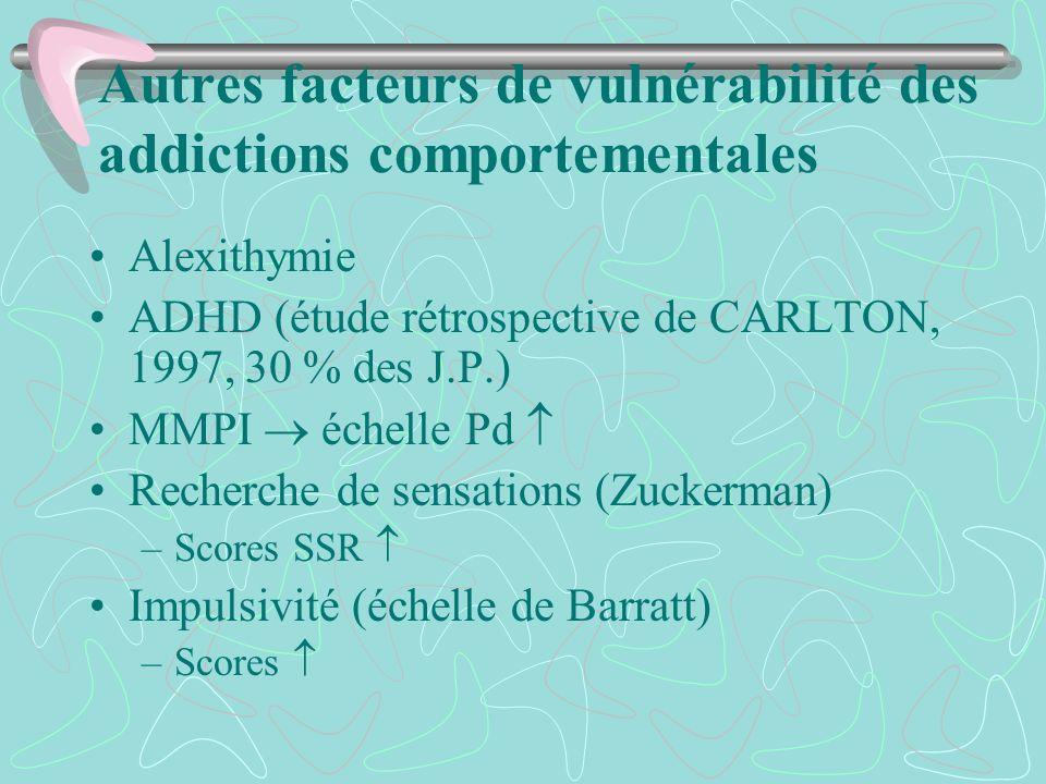 Autres facteurs de vulnérabilité des addictions comportementales
