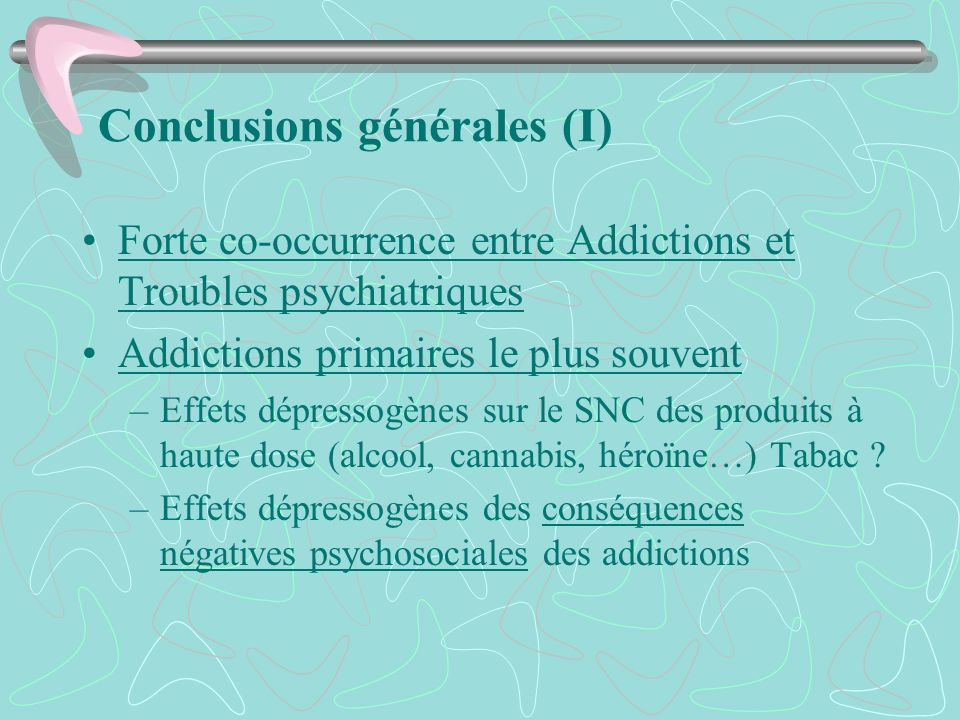 Conclusions générales (I)