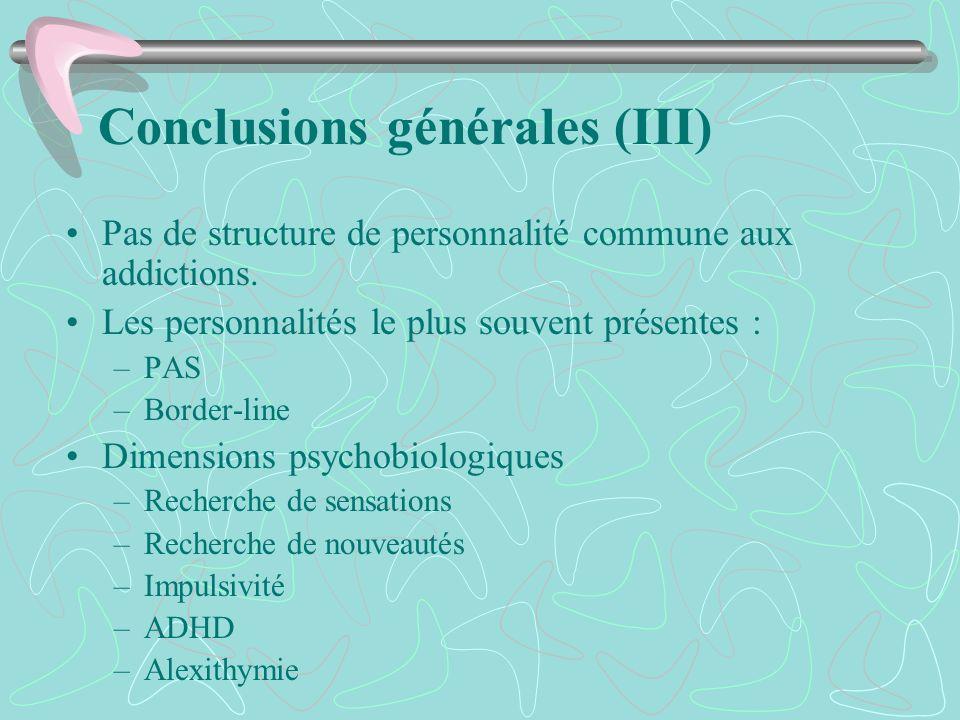 Conclusions générales (III)