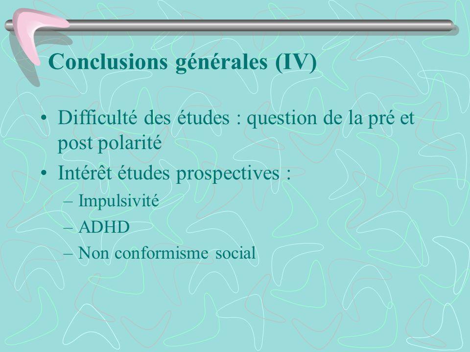 Conclusions générales (IV)