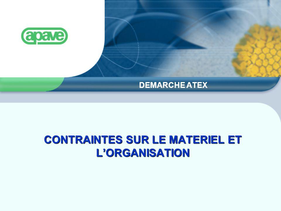 CONTRAINTES SUR LE MATERIEL ET L'ORGANISATION