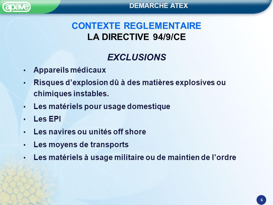 CONTEXTE REGLEMENTAIRE LA DIRECTIVE 94/9/CE