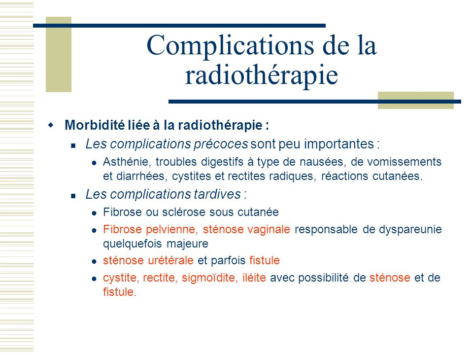 Complications de la radiothérapie