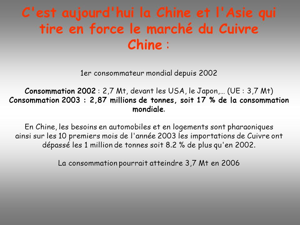 C est aujourd hui la Chine et l Asie qui tire en force le marché du Cuivre