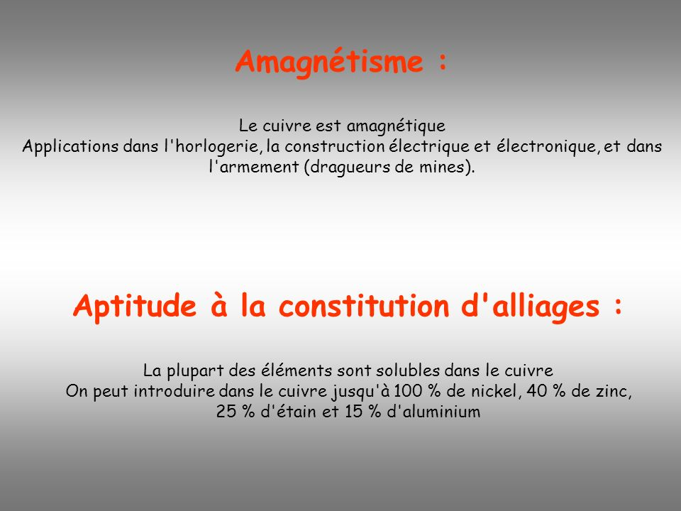 Aptitude à la constitution d alliages :