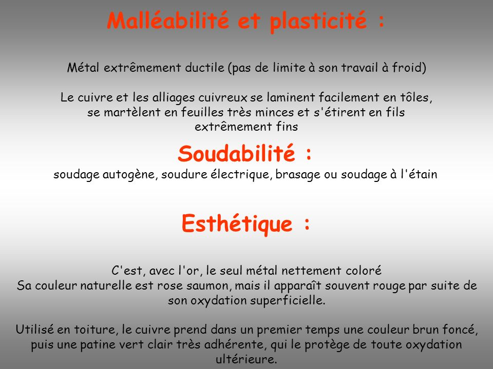 Malléabilité et plasticité :