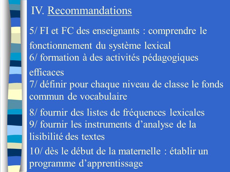 IV. Recommandations5/ FI et FC des enseignants : comprendre le fonctionnement du système lexical