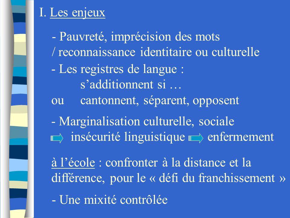 I. Les enjeux- Pauvreté, imprécision des mots. / reconnaissance identitaire ou culturelle - Les registres de langue :