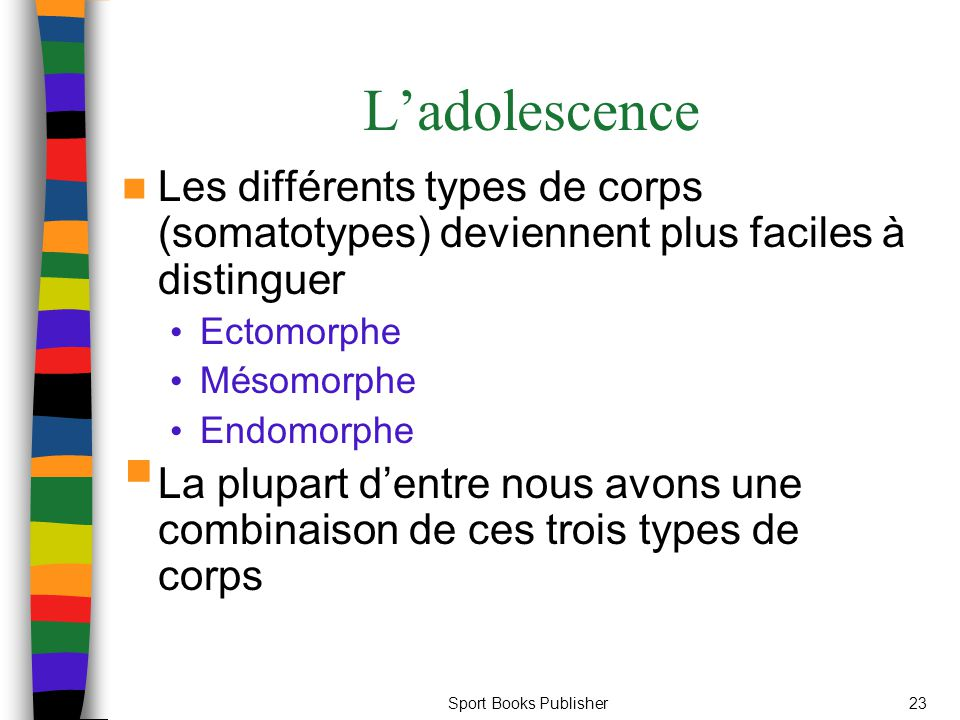 L'adolescence Les différents types de corps (somatotypes) deviennent plus faciles à distinguer. Ectomorphe.