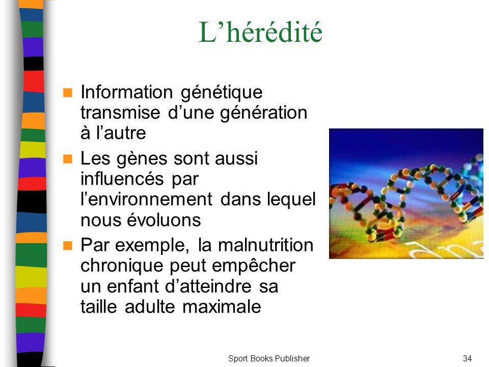 L'hérédité Information génétique transmise d'une génération à l'autre