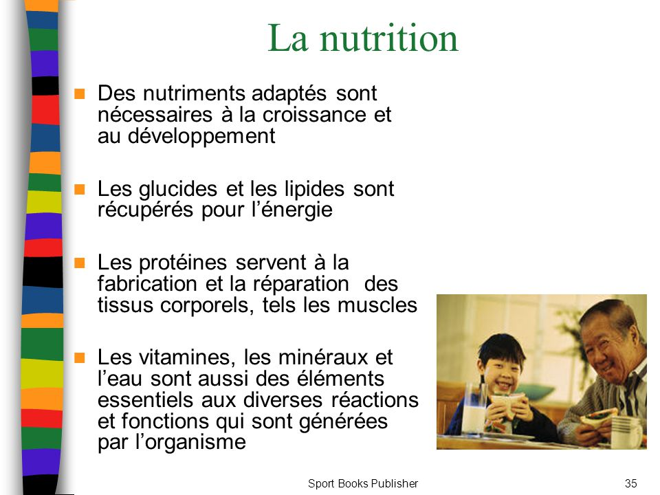 La nutrition Des nutriments adaptés sont nécessaires à la croissance et au développement. Les glucides et les lipides sont récupérés pour l'énergie.