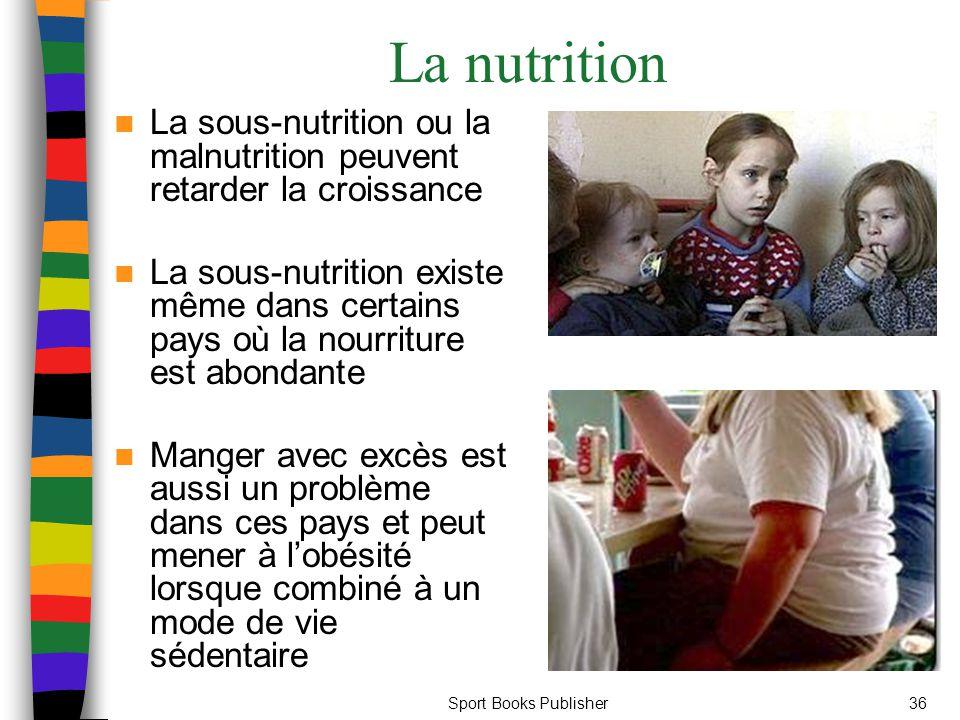 La nutrition La sous-nutrition ou la malnutrition peuvent retarder la croissance.