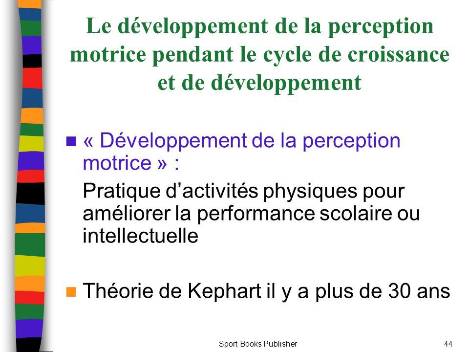 Le développement de la perception motrice pendant le cycle de croissance et de développement