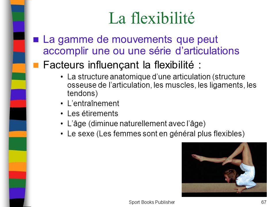 La flexibilité La gamme de mouvements que peut accomplir une ou une série d'articulations. Facteurs influençant la flexibilité :