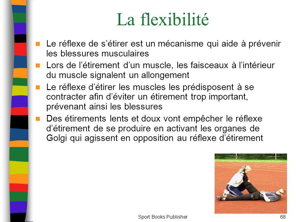 La flexibilité Le réflexe de s'étirer est un mécanisme qui aide à prévenir les blessures musculaires.